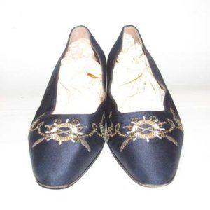 St. John Navy Blue Satin Leather Flat Low Heels